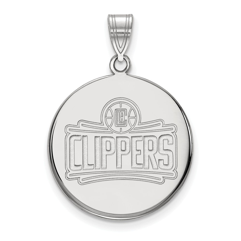 Roy Rose Jewelry 14K White Gold NBA LogoArt Los Angeles Clippers Large Disc Pendant by Roy Rose Jewelry