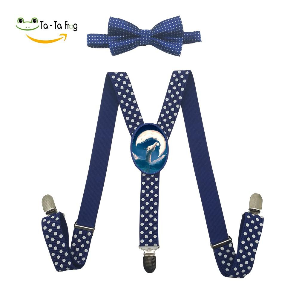 Xiacai Giraffe Eat The Moon Suspender/&Bow Tie Set Adjustable Clip-On Y-Suspender Kids