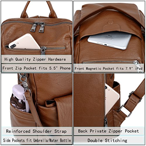 9abfab1aa341 UTO Women Backpack Purse PU Washed Leather Ladies Rucksack - Import ...