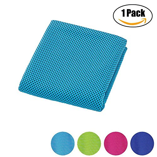 Cooling Towel for Sports, Workout, Fitness, Gym, Yoga, Pilates, Travel, Camping, Hiking, Running, Football, Basketball, Golf (Blue)