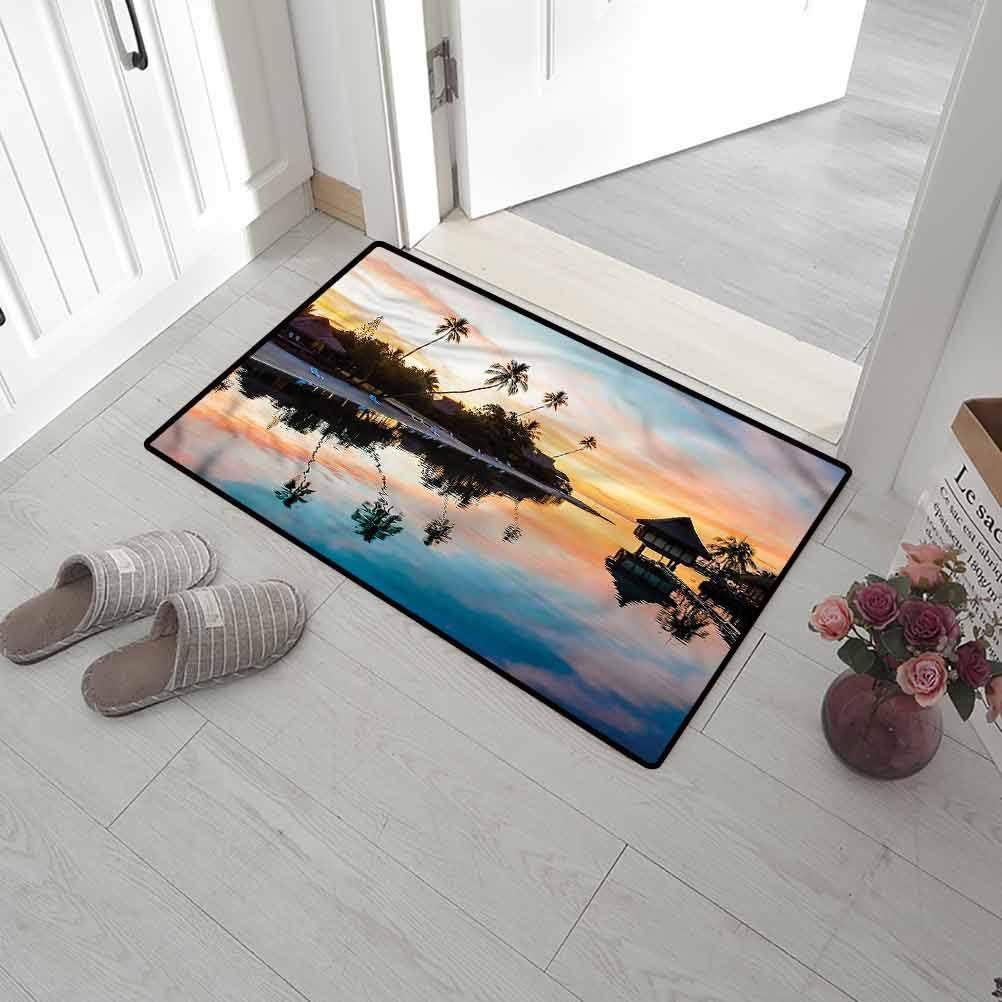 SCOCICI1588 Floor Mat Tropical, Sunset Moorea Island Doormat Indoor for Entryway Living Room Bedroom Kitchen 35 x 47 Inch