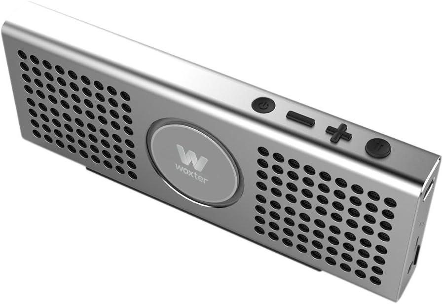 Woxter Big Bass BT-20 Silver- Altavoz portátil Bluetooth Ultracompacto de Aluminio, 10W (Bluetooth 4.0+EDR,función Manos Libres,Lector de Tarjetas, Entrada AUX), Color Plateado