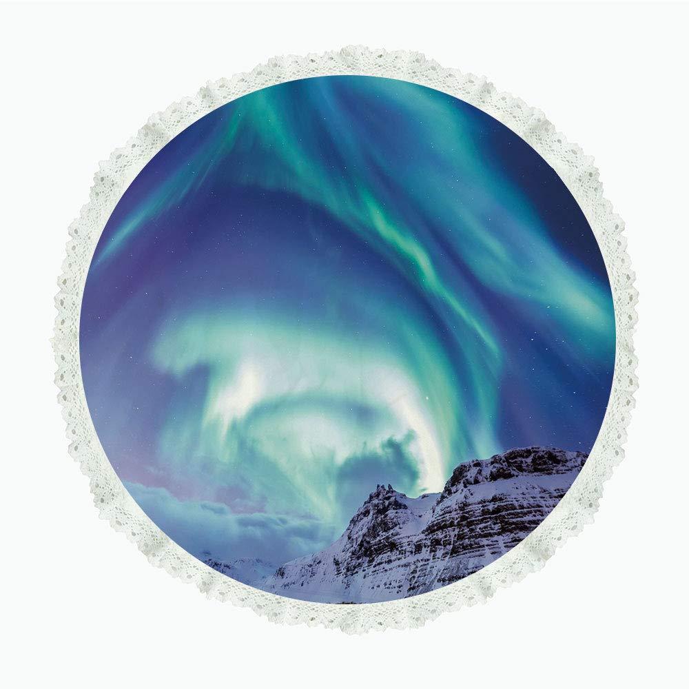 "iPrint 90"" Round Polyester Linen Tablecloth,Winter,Aurora Borealis at Kirkjufell Iceland Natural Phenomenon Northen Environment Decorative,for Dinner Kitchen Home Decor"