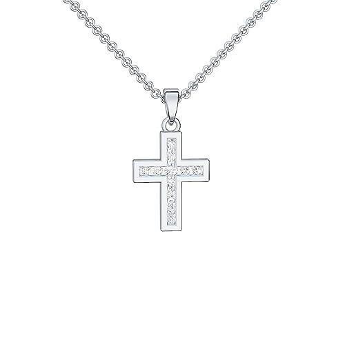 Baby Kinder Taufe Kommunion Kreuz mit Zirkonia Weißgold 585 mit Kette Silber 925