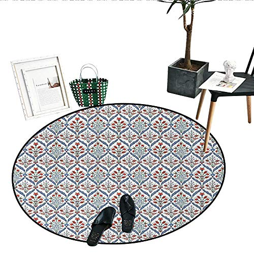 - Ottoman Print Area Rug Turkish Traditional Ceramic Tulip Patterns Cultural Ottoman Royal Lines Design Indoor/Outdoor Round Area Rug (43