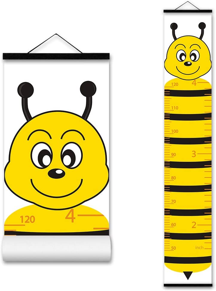 ASENART Kids Growth Chart, Cartoon Animal Honeybee Wood Frame Fabric Canvas Waterproof Hanging Height Measurement Ruler from Baby to Adult for Child's Room Decoration