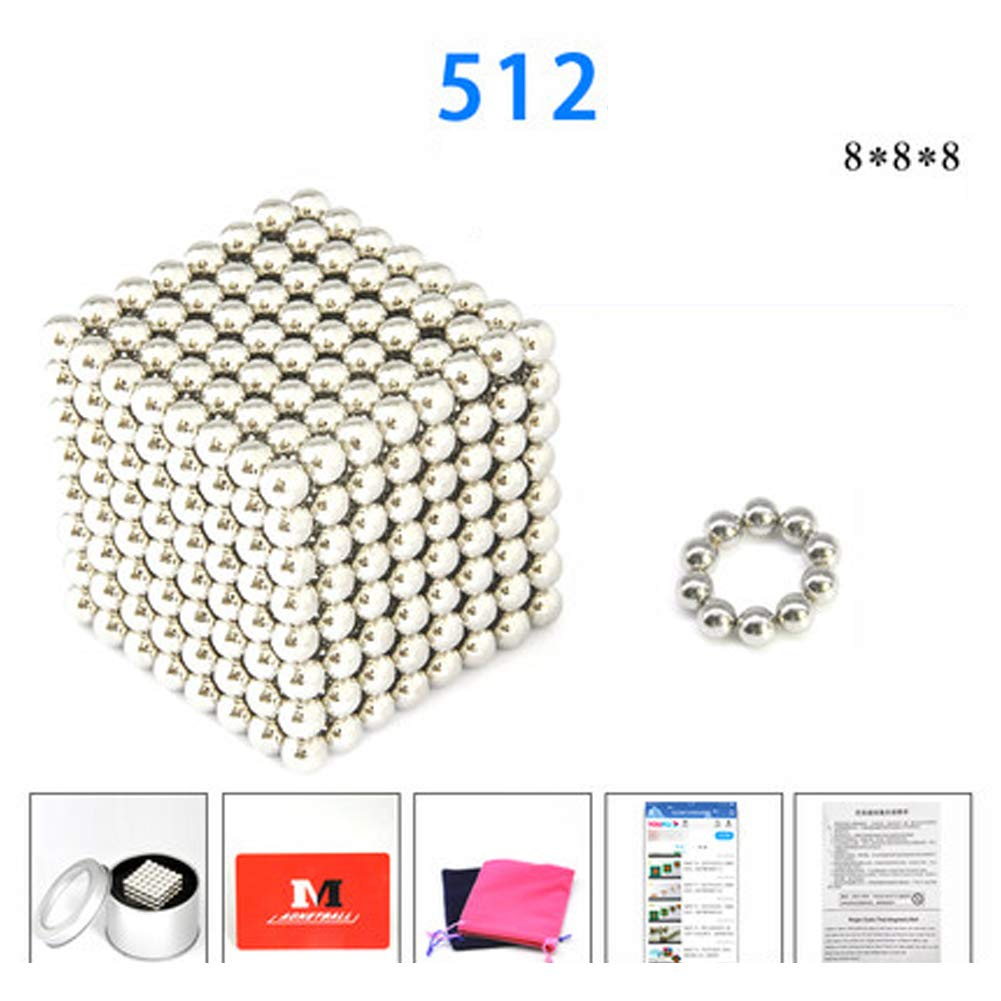 XHN Buck Ball 5MM,512 pcs Magic Ball for Kid, Fun Stress Relief Desk Toy for Adults - Mashable Smashable Buildable-Silver by XHN