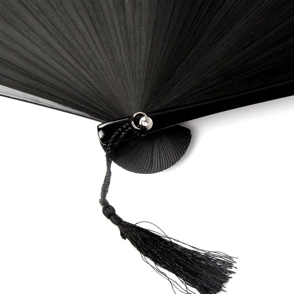 FullBerg Handf/ächer Japanischer Faltf/ächer Klappf/ächer Vintage Stil Damen Herren Bambus Folding Fans F/ächer f/ür Wanddekoration Hochzeit Geschenk Muttertag Party Kost/üm Schwarz