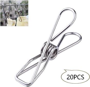 Macabolo 20 Pack Multi-Purpose acero inoxidable ropa Pins metal Wäscheklammern acero soporte acero alambre Clips ganchos para papel Snack Bag: Amazon.es: Bricolaje y herramientas