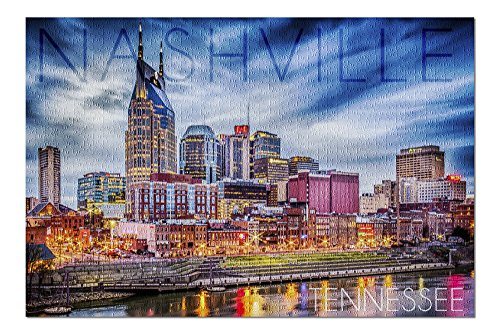 Tn Framed Nashville (Nashville, Tennesseee - Colorful Skyline (20x30 Premium 1000 Piece Jigsaw Puzzle, Made in USA!))