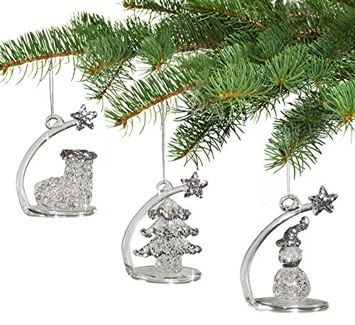 Crystal Christmas Ornaments - Hanging or Sitting Shooting Star Glittery Snowman Stocking or Tree Ornaments & Figurines - Set of 3 - 2.25