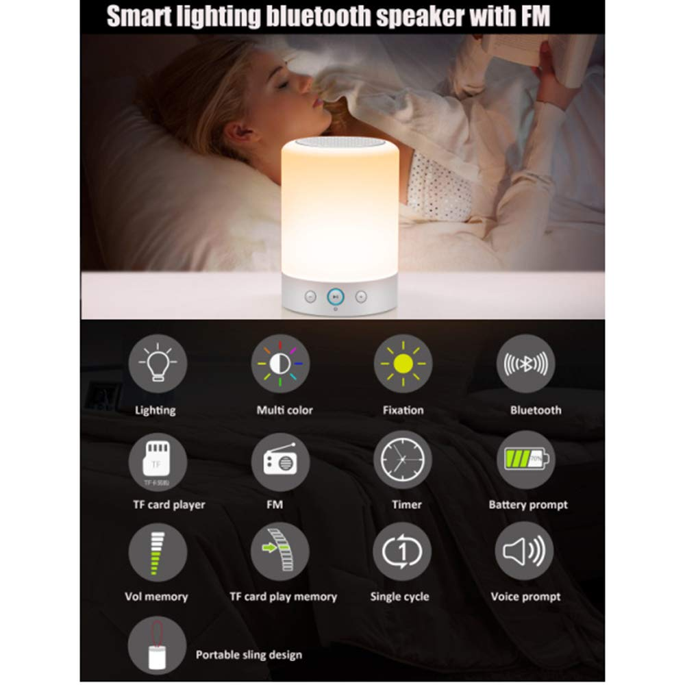 Romantic Lighting Bluetooth Speaker - Night Light Portable Lamp Speakers with Smart Touch Control – Set The Mood Premium LED Light Bedside Desk Lamp for Bedroom, Lounge, Camping, Travelling & More