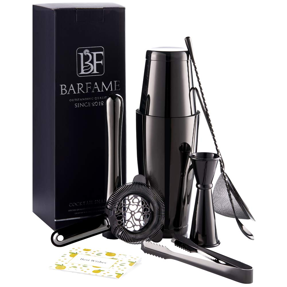 Boston Cocktail Shaker Set 18/8 Stainless Steel Bartender Kit, Including 18oz&28oz Shaker Tins, Double Jigger, Muddler, Mixing Spoon, Ice Tong, Cocktail Strainer and Conical Strainer by Barfame(Black)