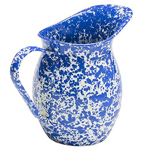 Enamelware Large 2 Quart Pitcher - Blue Marble