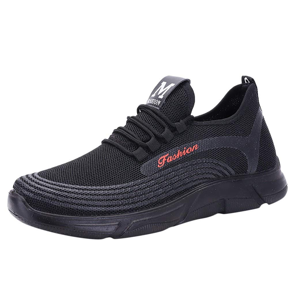 Haalife◕‿ Men's Breathable Running Shoes Lightweight Casual lace up Training Fashion Sneakers Sports Shoes Red