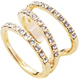 High Gloss Crystal Accent Wrap Around Open Spiral Midi Ring