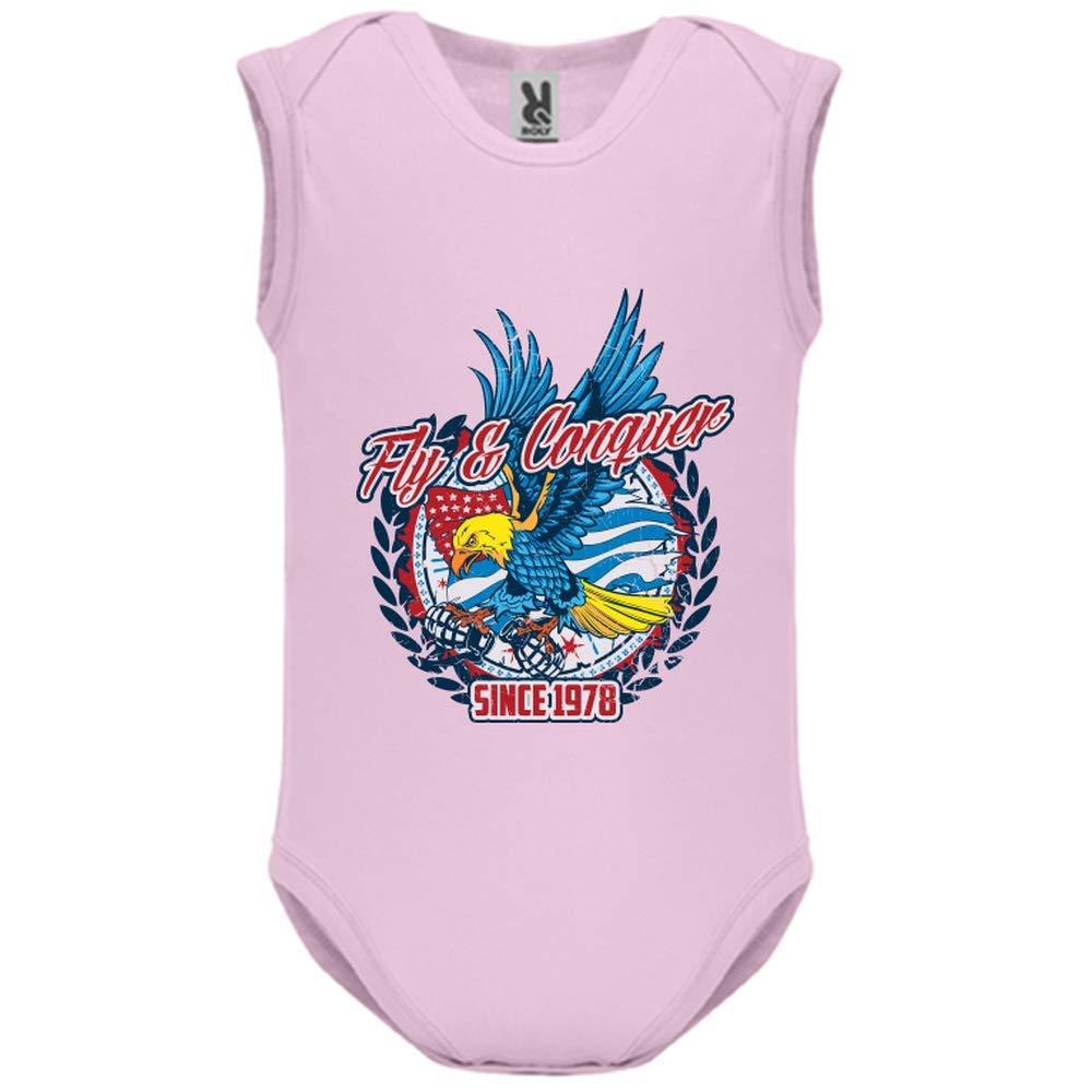 LookMyKase Body bébé - Manche sans - Fly and Conquer 2 - Bébé Fille - Rose - 9MOIS