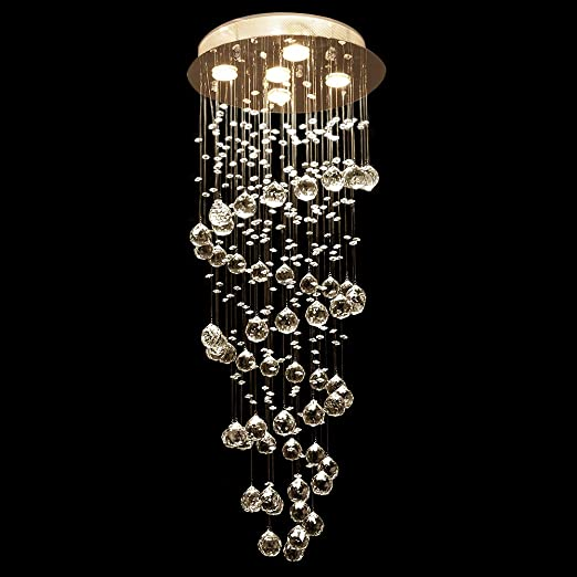 Etelux Lámpara Colgante Cristal 5*GU10 LED 50W Lámpara de ...