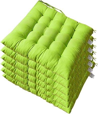 AGDLLYD – Juego de 6 Cojines de Silla y sillones de Teca de jardín, Cojines de Asiento para sillas, tamaño: 40 x 40 x 5 cm: Amazon.es: Hogar