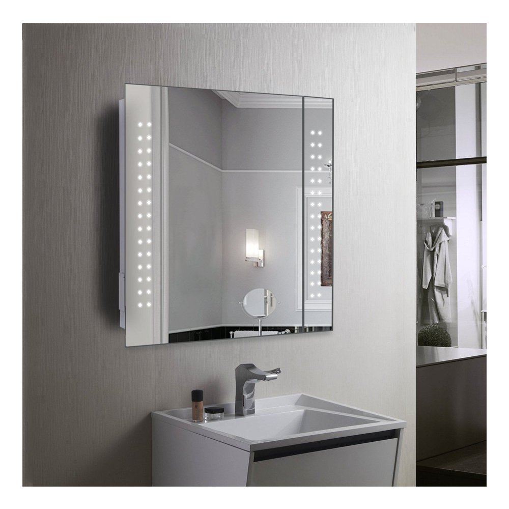 60 LED Illuminated Bathroom Mirror Cabinet with Motion Sensor, Demister Pad and Shaver Socket Sofatbed