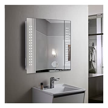 60 led illuminated bathroom mirror cabinet with motion sensor rh amazon co uk Lighted Mirrored Curio Cabinet Curved Bathroom Mirrors with Lights Behind