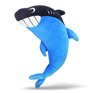 sheepet Shark Seatbelt Pillow for Kids,Car Seat Belt Cover,Stuffed Plush Animal Travel Pillow,Toddler Seat Belt Neck Support Pad,Perfect for Home and Traveling(Blue)