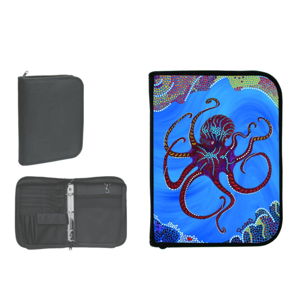 New Scuba Diving 3 Ring Zippered Log Book Binder with FREE Generic Log Insert ($12.95 Value) - Octopus (Rogest) by Innovative Scuba Concepts