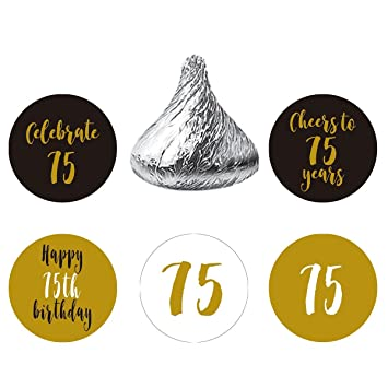 Gold Black 75th Birthday Party Favors Stickers Round Candy Labels Fit Hersheys Kisses 200