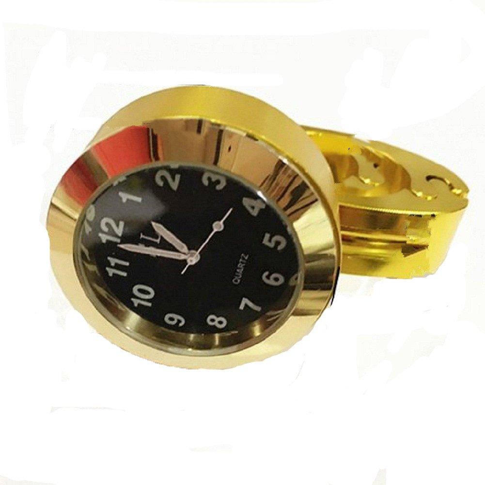 Honeyhome Motorrad DIY Universal Motorraeder Lenkeruhr fuer Harley 25/22MM 7/8 ' Lenker wasserdichte Uhren Aluminium Farbe gold