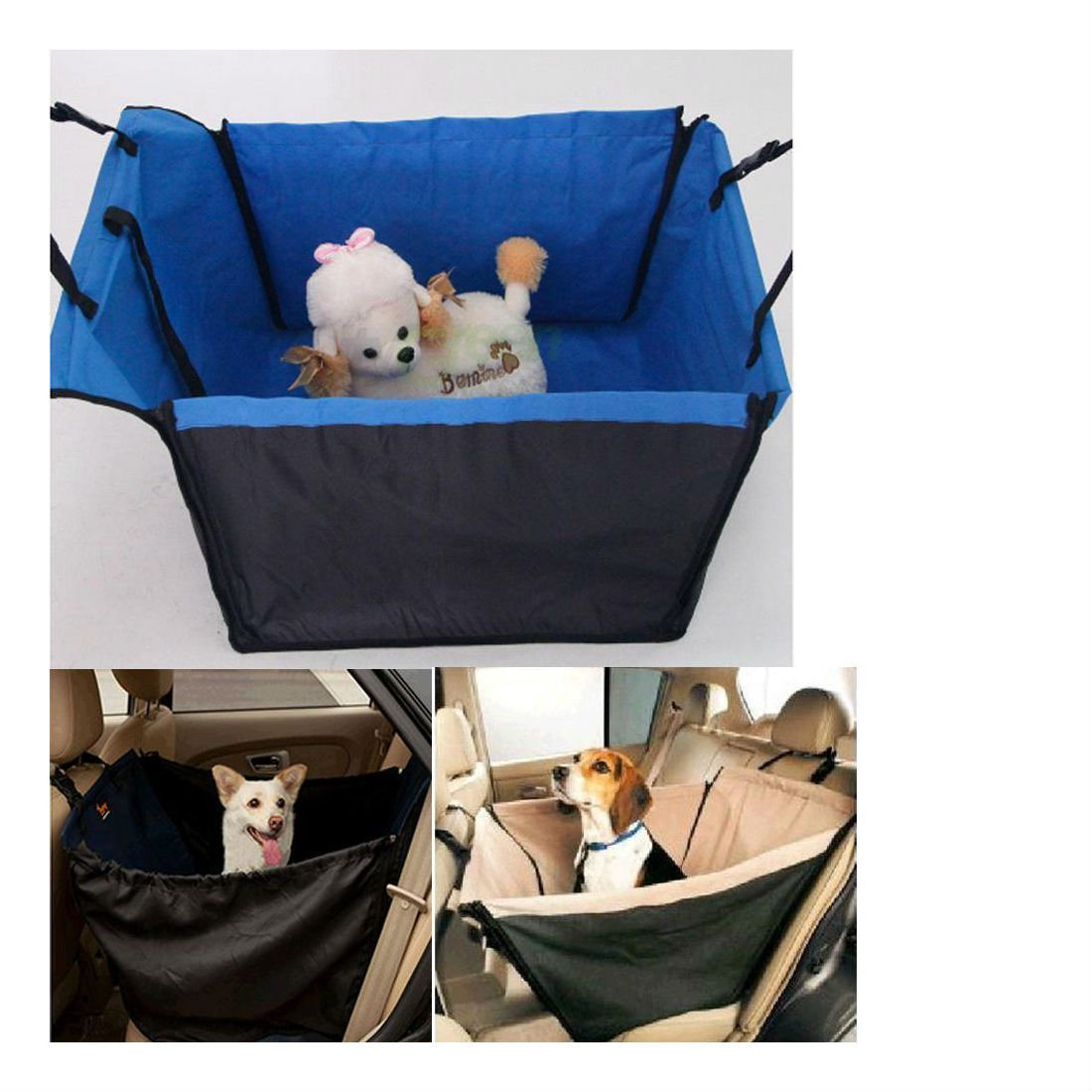 New Carrier Car Seat Cover Fodable Waterproof Pet Dog Safety Travel Hammock bluee Pet Supplies