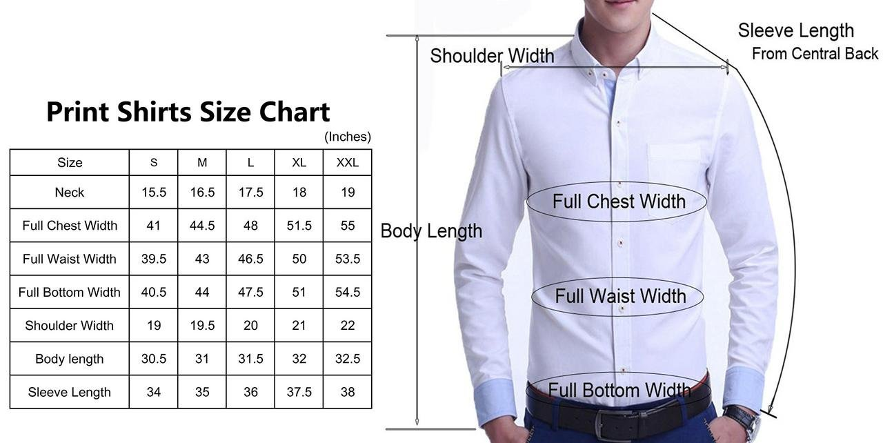 Mens Long Sleeve Printed Dress Shirts Casual Button Down Regular Fit Men Shirt (long-grey02 L by Menswear House