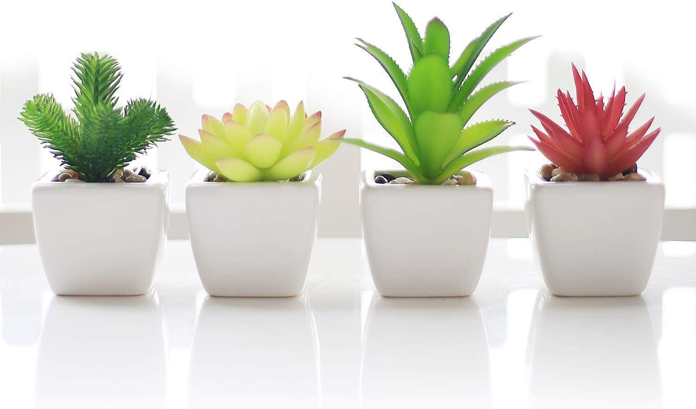Veryhome Fake Suculentas Plantas Artificiales En Macetas En Mini Macetas Cuadradas Blancas para Jardín De Casa Decoración Verde (Maceta de cerámica B): Amazon.es: Hogar