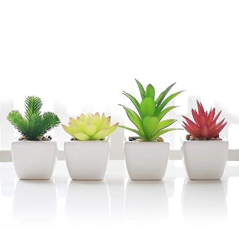 Veryhome Fake Suculentas Plantas Artificiales En Macetas En Mini Macetas Cuadradas Blancas para Jardín De Casa Decoración Verde (Maceta de cerámica B)