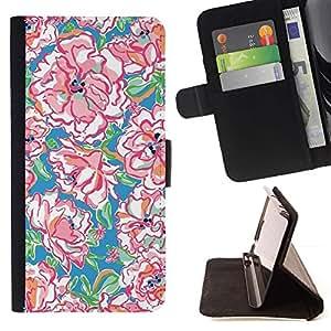 Momo Phone Case / Flip Funda de Cuero Case Cover - Acuarela Patrón Primavera Arte - Sony Xperia Z5 5.2 Inch (Not for Z5 Premium 5.5 Inch)
