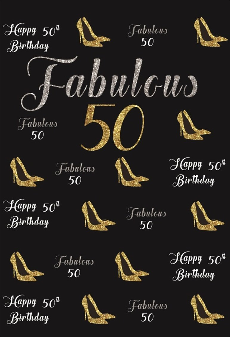 CSFOTO 5x7ft Background For Happy 50th Birthday Party Photography Backdrop Fabulous 50 Gold High Heels Female Bash Ornament Celebration Woman Photo