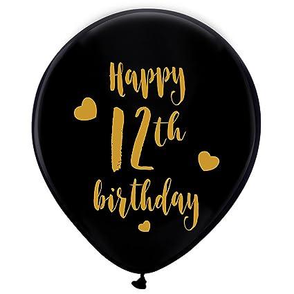 Black 12th Birthday Latex Balloons 12inch 16pcs Girl Boy Gold Happy