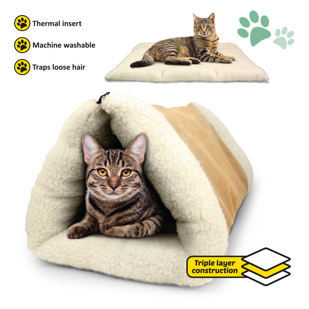 PARTYSAVING PET PALACE 2-in-1 Pet Bed Snooze Tunnel and Mat for Pets Cats Dogs and Kittens for Travel or Home, APL1343, Beige