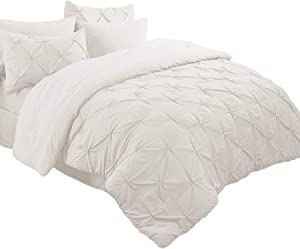 Bedsure 8 Pieces Bed in a Bag Queen Size Deep Pocket Comforter Set(Comforter, Flat Sheet, Fitted Sheet, Bed Skirt, 2 Pillow Shams, 2 Pillowcases) Off-White Pinch Pleat Down Alternative (88X88 inches)