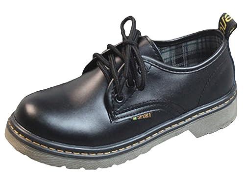 Chaussures Basses Ronde Cuir Noir Vintage Eozy Plate Femme Classic nXwOPN80k