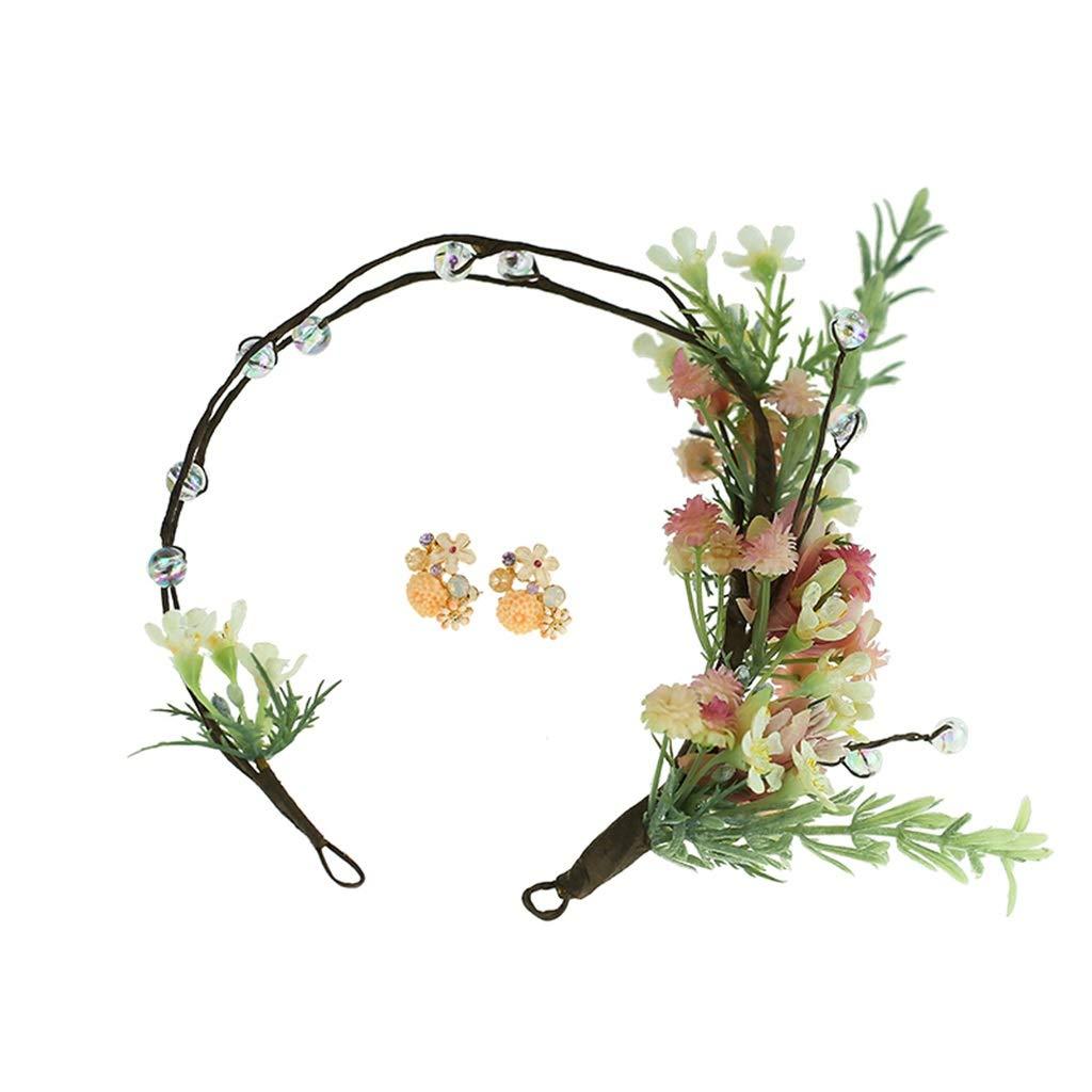 Wreath Flower Bride Sen Hair Accessory Set Beautiful Garland Natural Dry Flower Clip Korean Wedding Headdress Wedding Dress Accessories