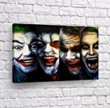 4 Joker Transformation Evolution Four of Kind Canvas Print Wall Art Vector Digital Painting Decorative Home Decor Poster Artwork Framed and Stretched- Ready to Hang -%100 Handmade in The USA - 8x12