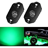 4WDKING Green LED Rock Lights, 2 Pods IP68 Waterproof Underbody Glow Trail Rig Lamp LED Neon Lights for Truck Jeep Off Road T