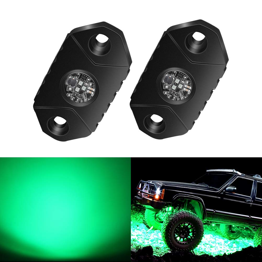 4WDKING Green LED Rock Lights, 2 Pods IP68 Waterproof Underbody Glow Trail Rig Lamp LED Neon Lights for Truck Jeep Off Road Truck Car Boat ATV SUV Motorcycle