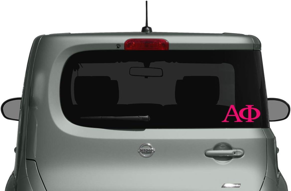 2 Pack Alpha Phi Greek Letters Die Cut Decal for Macbook Hot Pink Laptop or Car