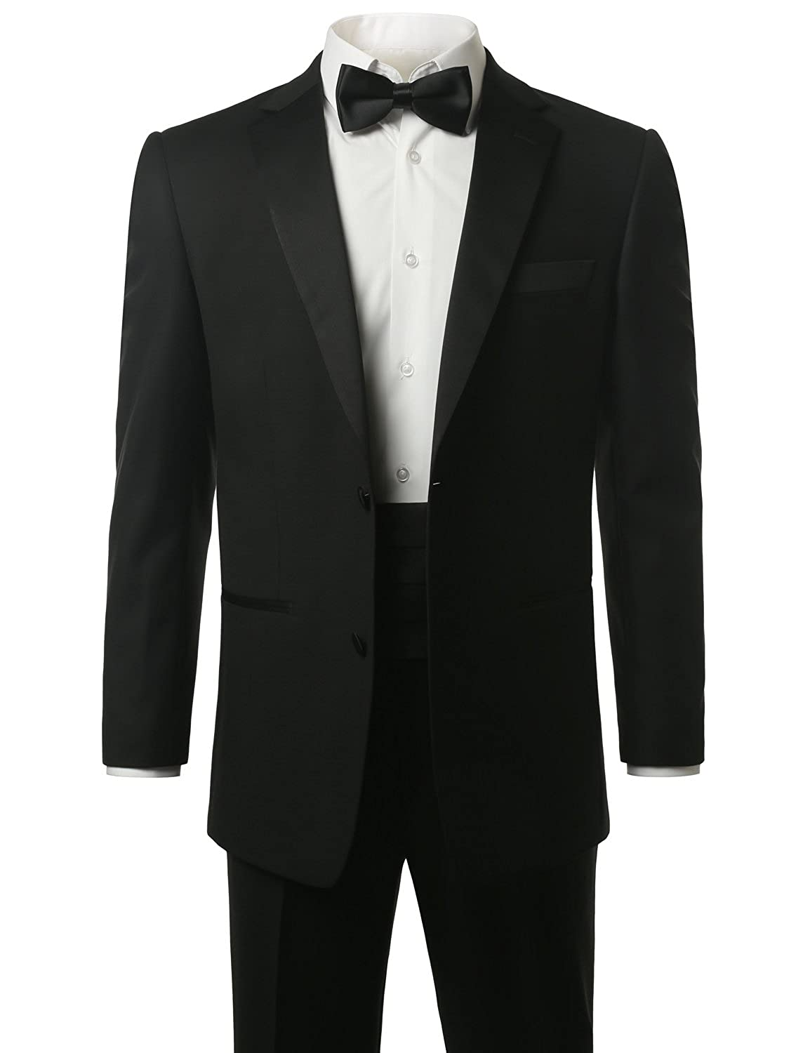 MONDAYSUIT Men's Modern Fit 2-Piece Suit Blazer Tuxedo & Trousers (BLACK/WHITE)