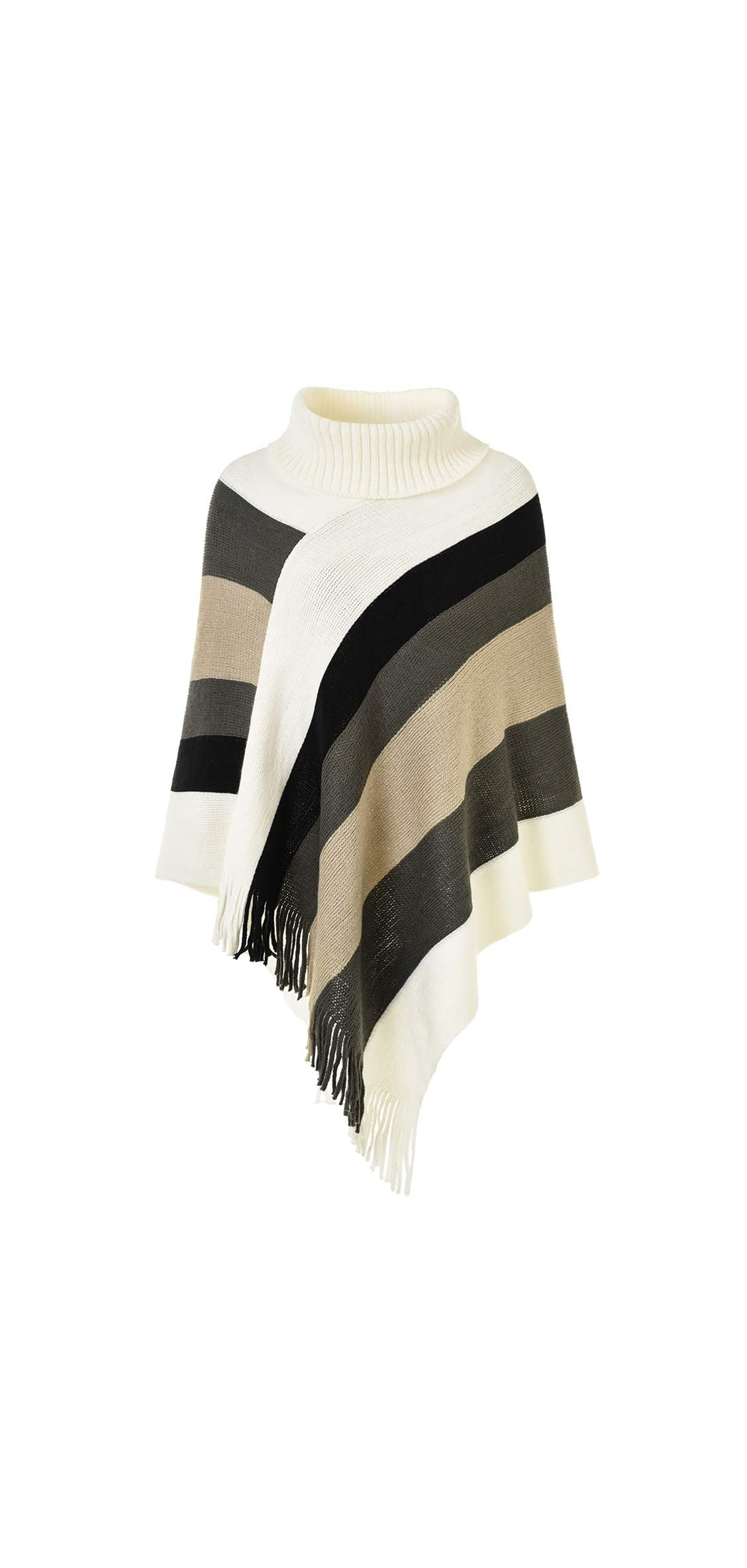 Womens Elegant Knitted Poncho Top With Stripe Patterns