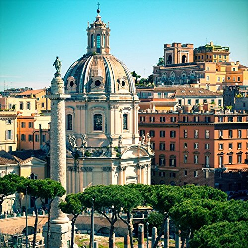 (OFILA Roman Old Church Backdrop 10x10ft Ancient Trajan's Column Photography Background Italy Ancient Architecture City Landscape Empire Forum Historical Building Trval Photos Dome Video Studio Props)