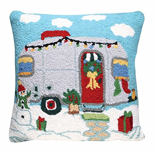 Christmas Trailer Hand-Hooked Wool Throw Pillow - 18