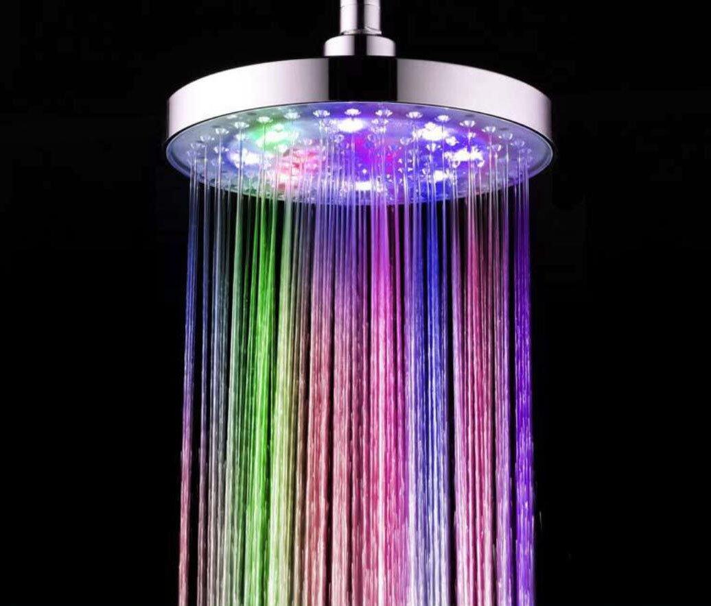 Rubinetti per doccia Soffione doccia a LED con getto d'acqua Flash soffione doccia 8 pollici placcatura in ABS HUAN