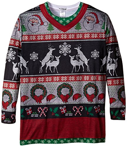 Faux Real Men's Big-Tall Frisky Deer Sweater Long Sleeve T-Shirt, Multi, (Big And Tall Christmas Sweaters)